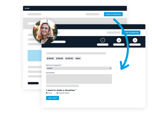 Interface representing customizable donation forms