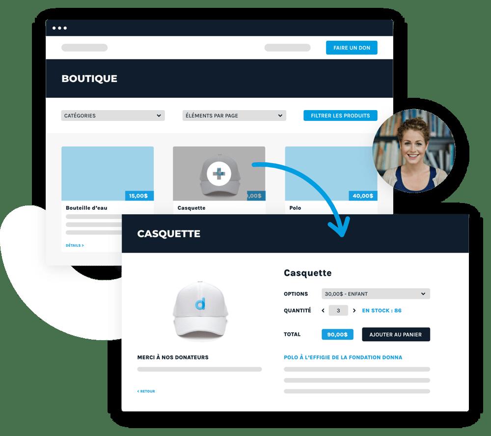 Interface représentant la boutique en ligne