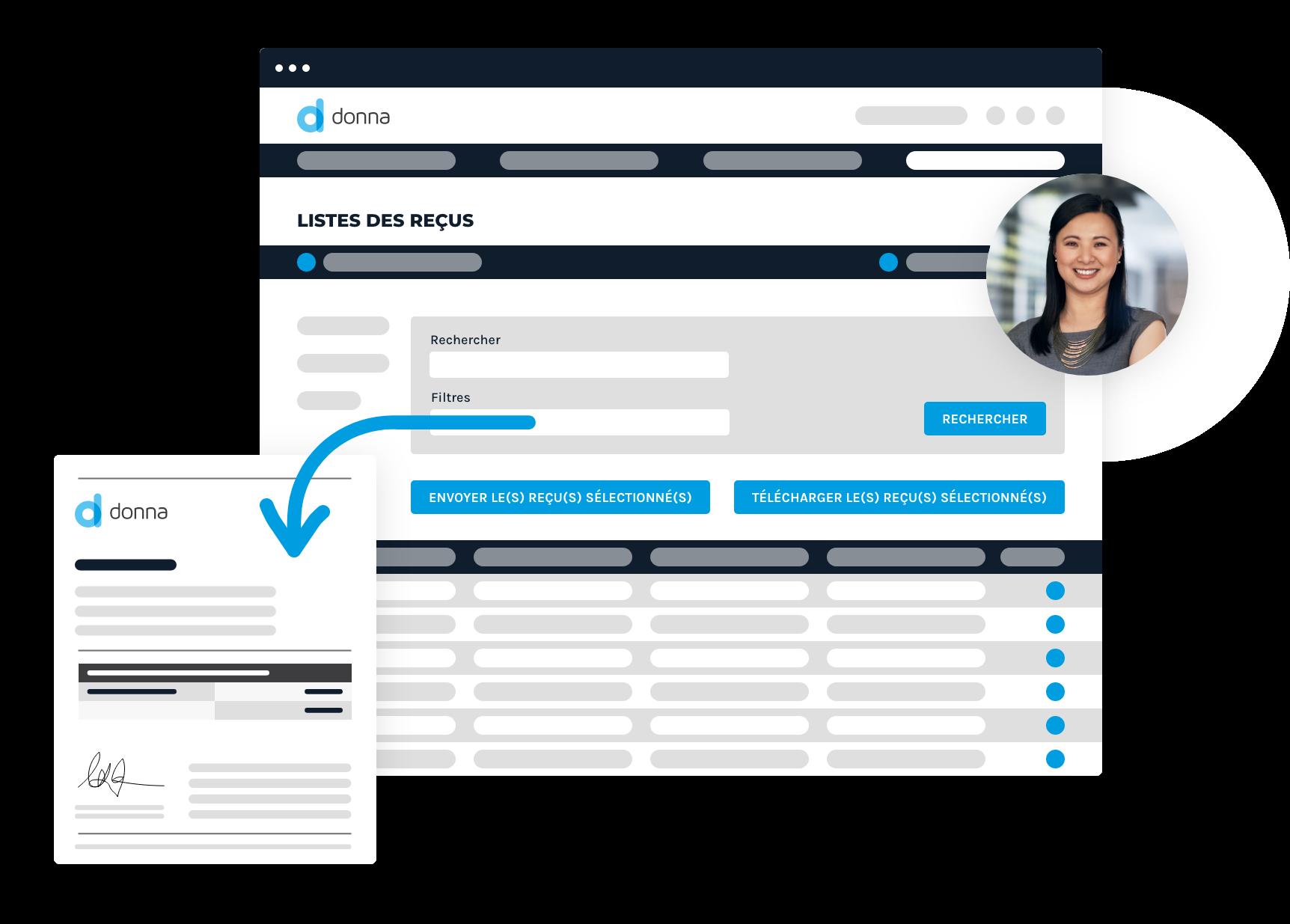 Interface représentant la gestion des reçus fiscaux