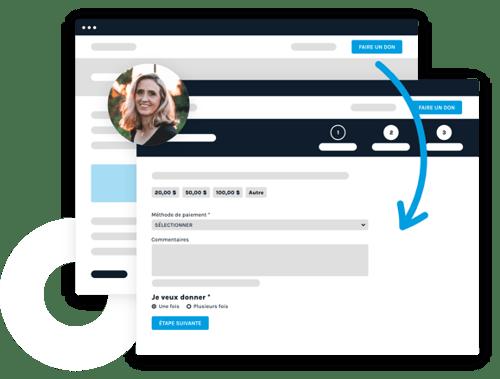 Interface représentant les formulaires de dons personnalisables