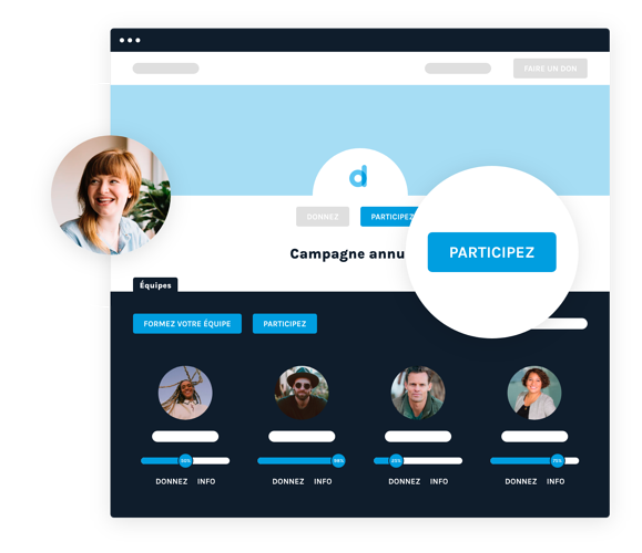 Interface représentant les campagnes peer-to-peer