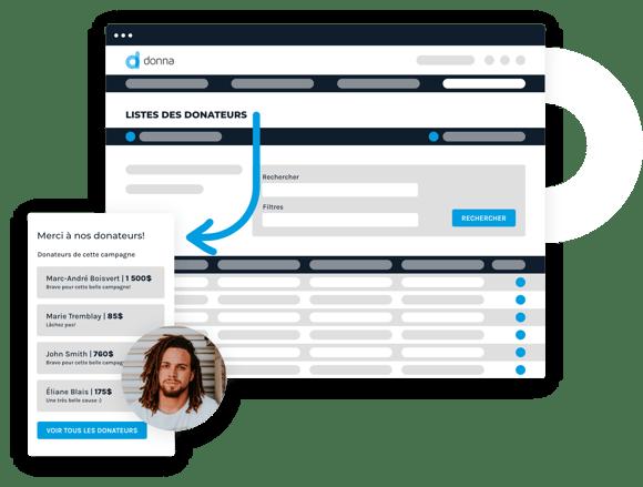 Interface représentant la gestion des donateurs